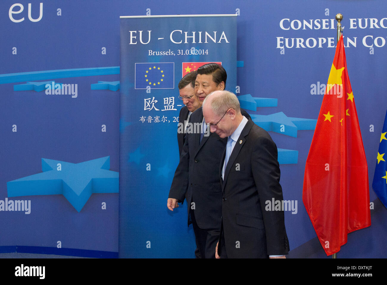 Brussels, Belgium. 31st Mar, 2014. Pictured during his visit to the European Institutions in Brussels was President Xi Jinping of the People's Republic of China with (left) Jose Manuel Barroso, President of the European Commission and (right) Herman Van Rompuy, President of the European Council. - Stock Image