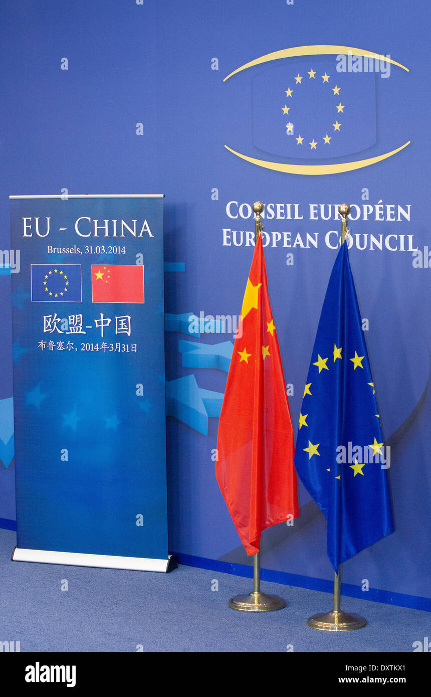 Flags pictured during the visit to the European Institutions in Brussels by President  of the People's Republic of China - Stock Image