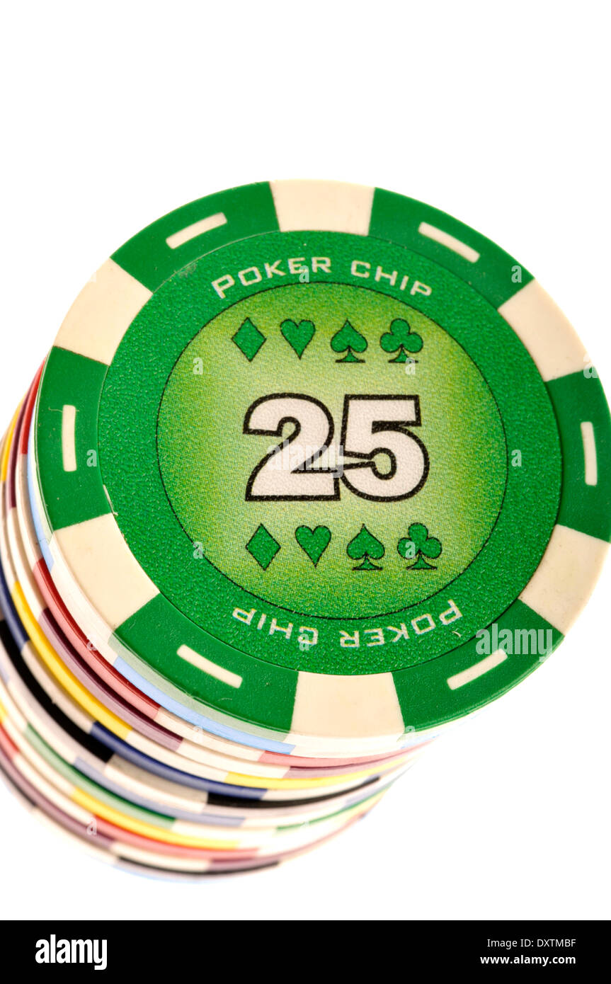 poker chips stacked - Stock Image