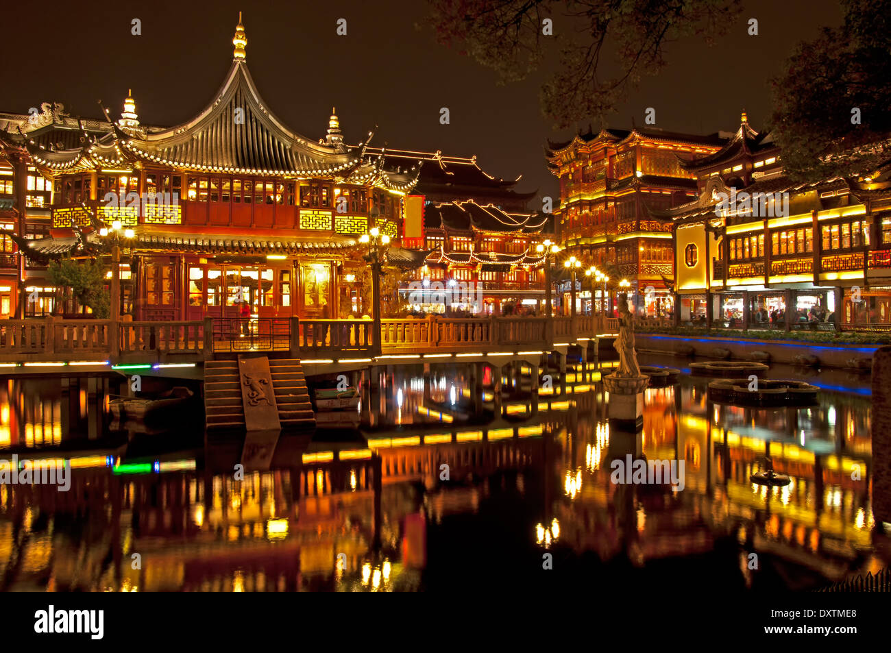 View on night lights of the old town. Shanghai China Stock ...