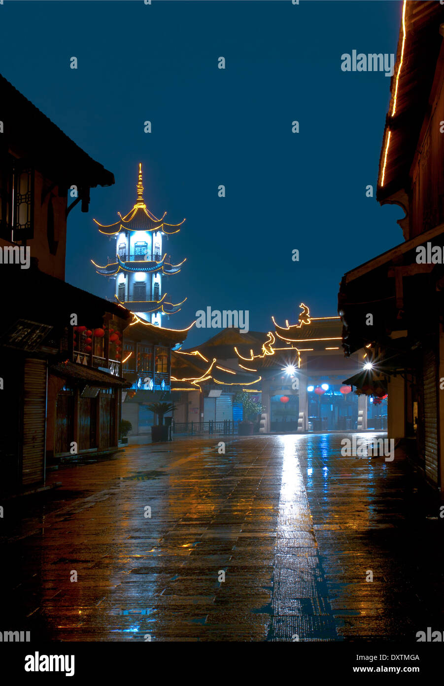 View of the old Chinese street at night. China Zhouzhuang Stock Photo