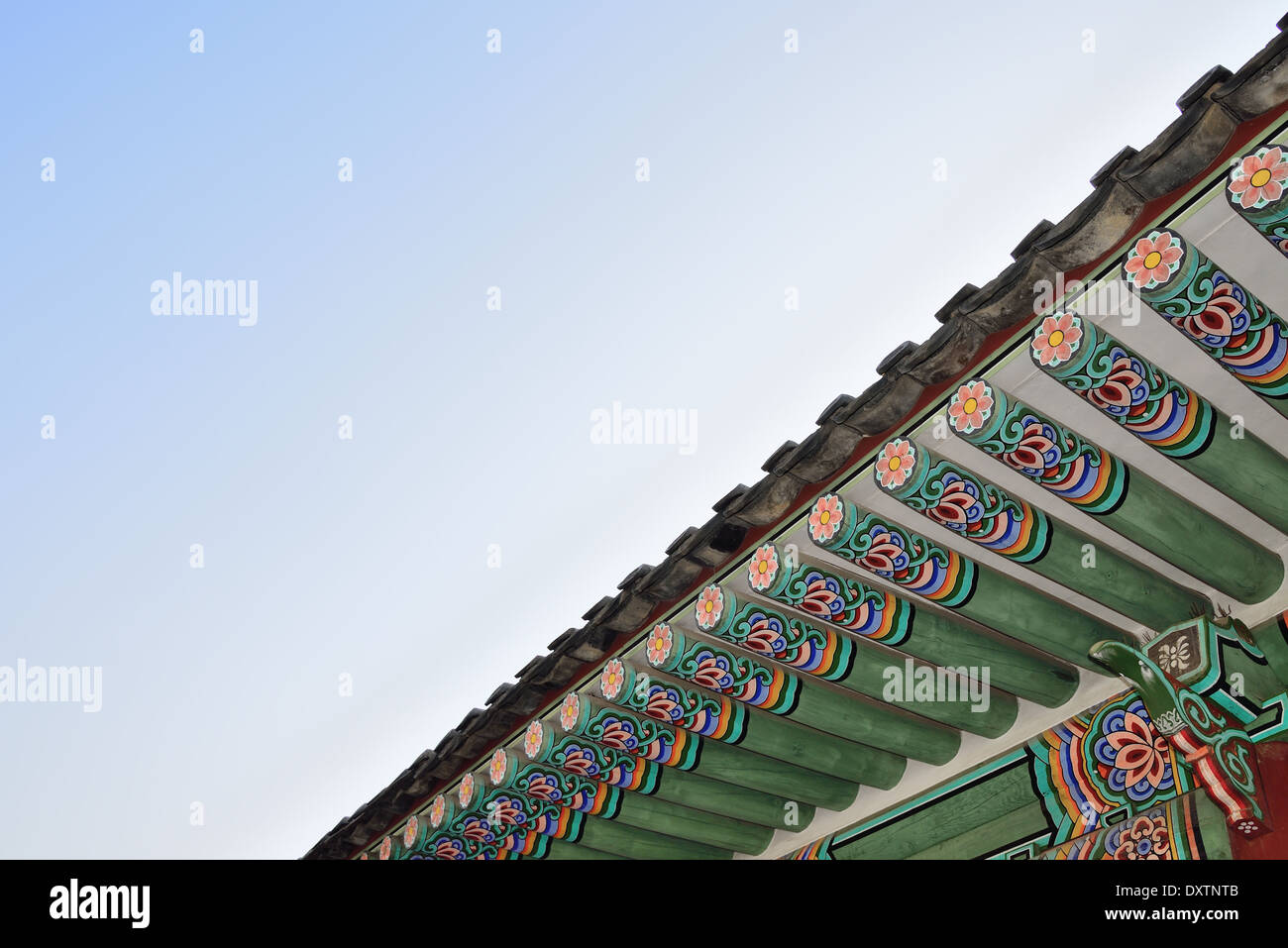 Detail of eaves in Gyeongbok Palace in Seoul, Korea - Stock Image