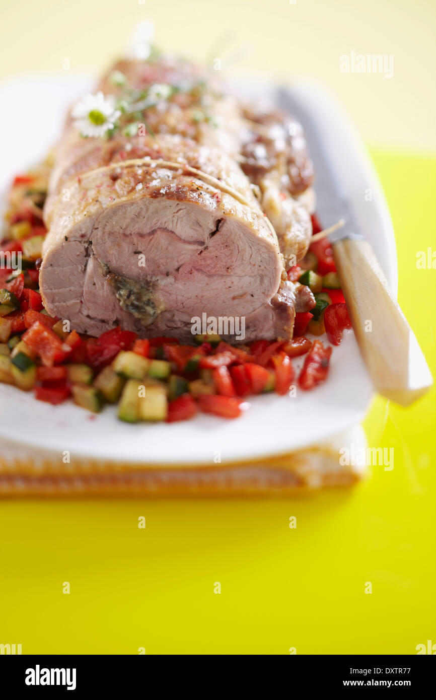 Shoulder of lamb stuffed with blue cheese - Stock Image