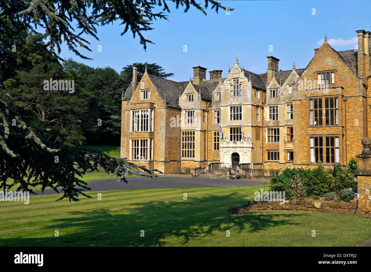 Façade of Wroxton Abbey, a Jacobean house, Wroxton, Oxfordshire, England, Great Britain. - Stock Image