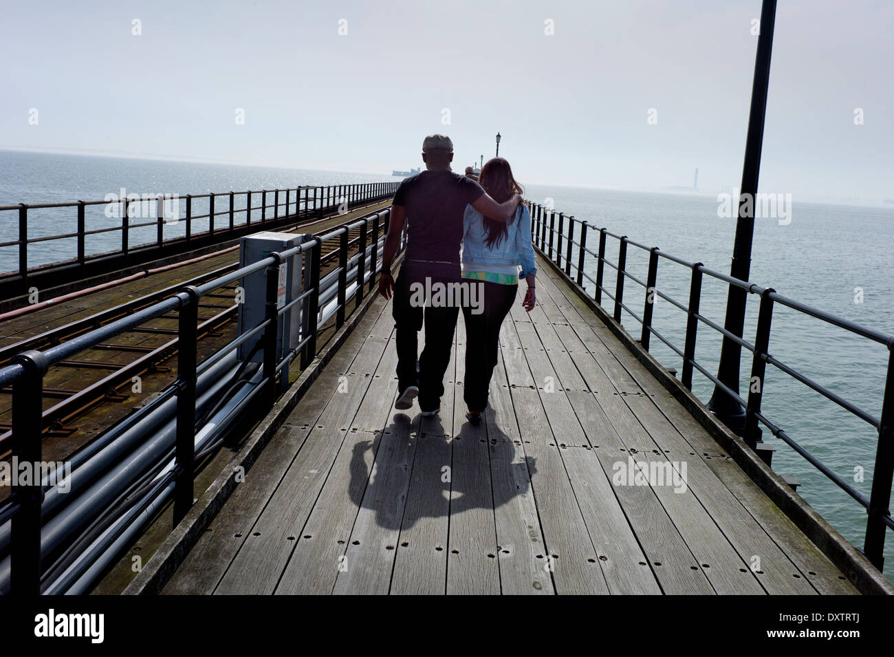 Southend-on-Sea, Essex, England. 30 March 2014 Southen Pier, the longest pleasure pier in the world. Stock Photo