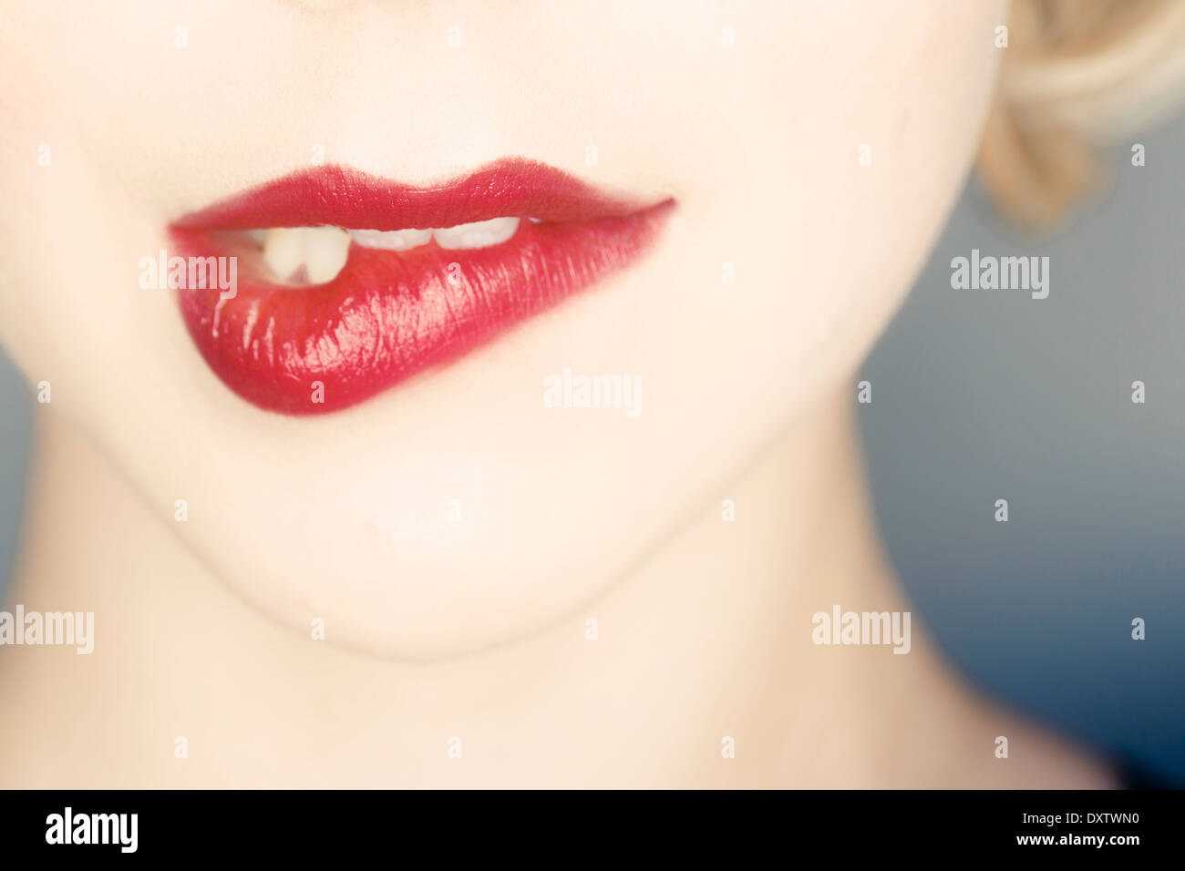 Woman, Close-up of human lips, making a face - Stock Image