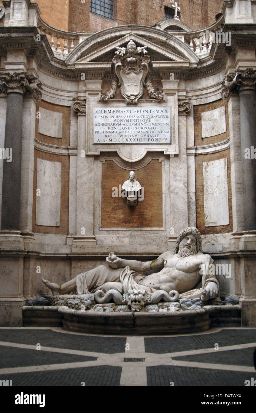 Marphurius or Marforio. One of the talking statues of Rome. 1st century A.D. Marble sculpture. Reclining bearded Stock Photo