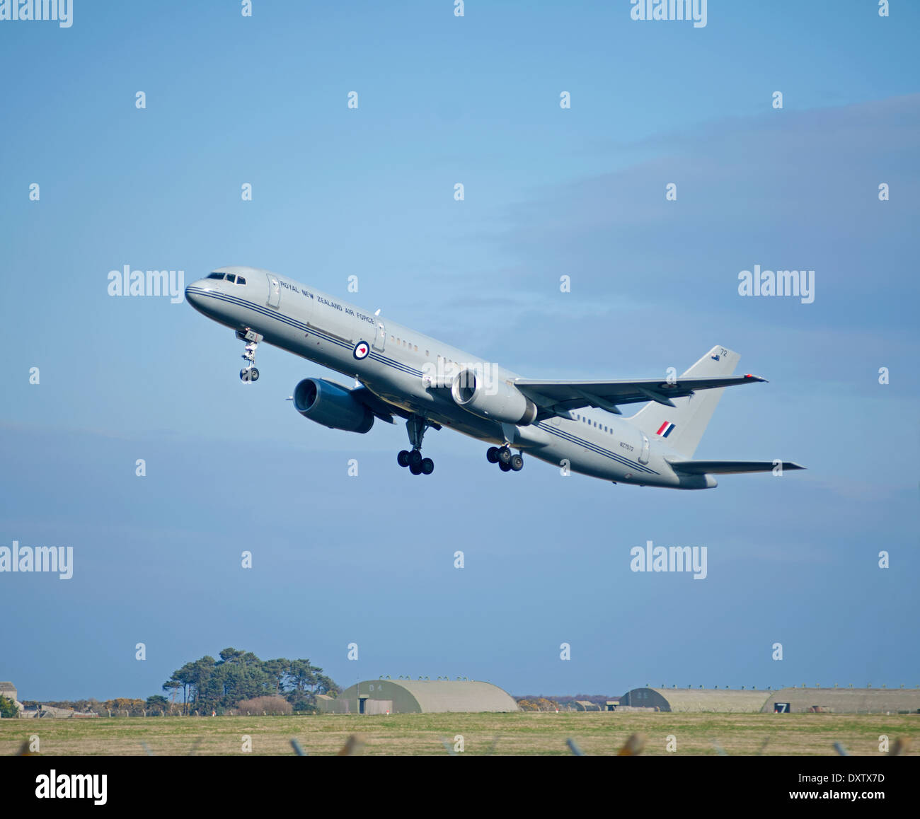 New Zealand Royal Airforce Boeing 757 leaving RAF Lossiemouth on its return long haul back home.  SCO 9031. - Stock Image