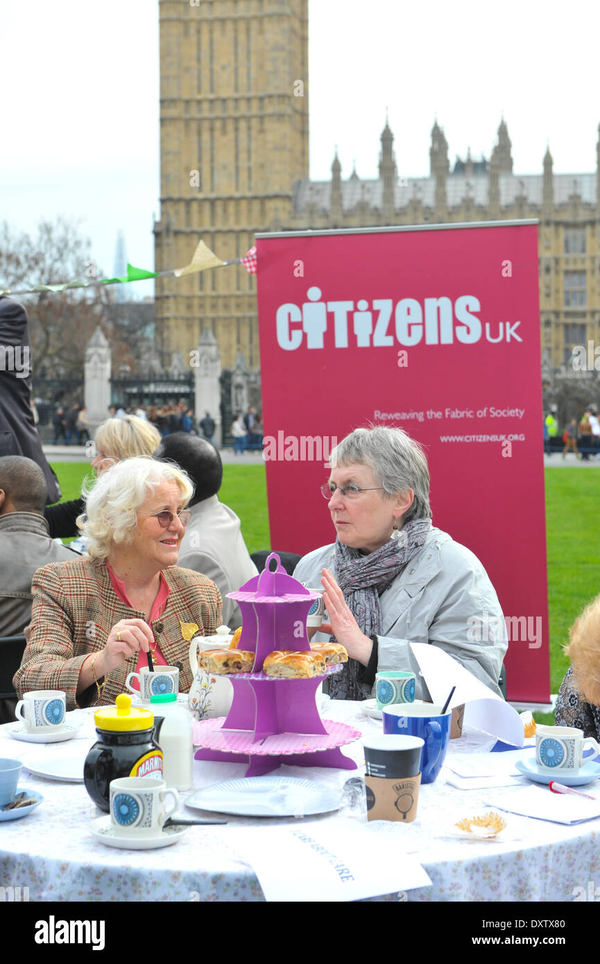 """Parliament Square, London, UK. 31st March 2014.  Parliament Square at an event where, """"Today (Monday 31 March), Stock Photo"""