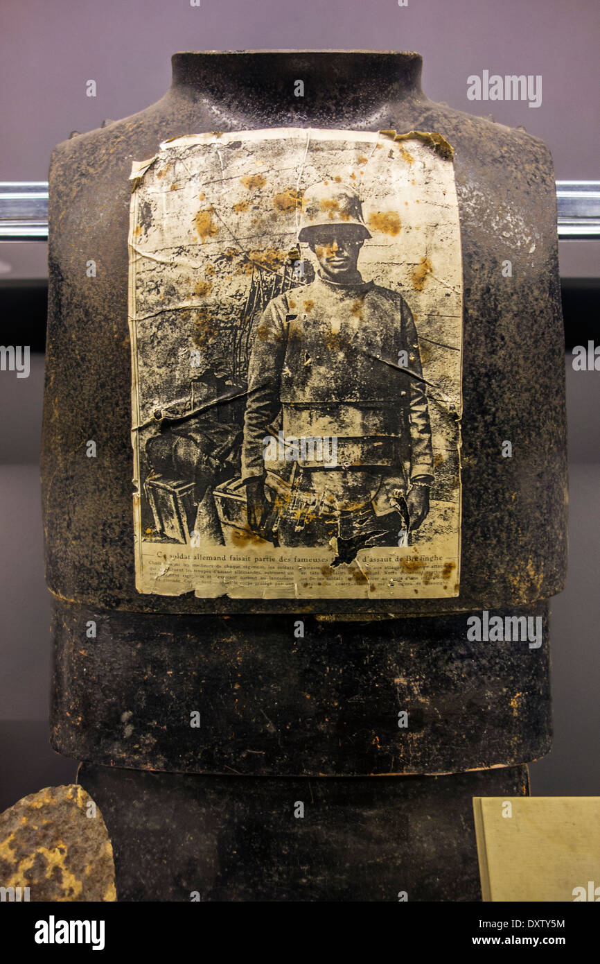 German WWI cuirass / steel body armour used during the First World War One at museum inside the IJzertoren / Yser Tower, Belgium - Stock Image