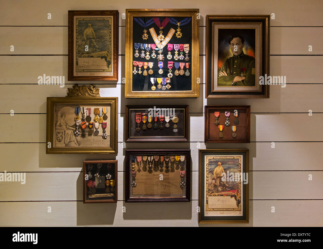 Collection of military medals of Belgian First World War One soldiers at museum inside the IJzertoren / Yser Tower, Belgium - Stock Image