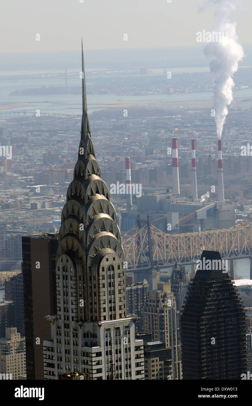 Chrysler Building New York shot from top of Empire State Building - Stock Image