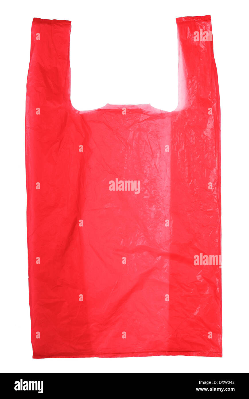 Red Plastic bag isolated on white background - Stock Image