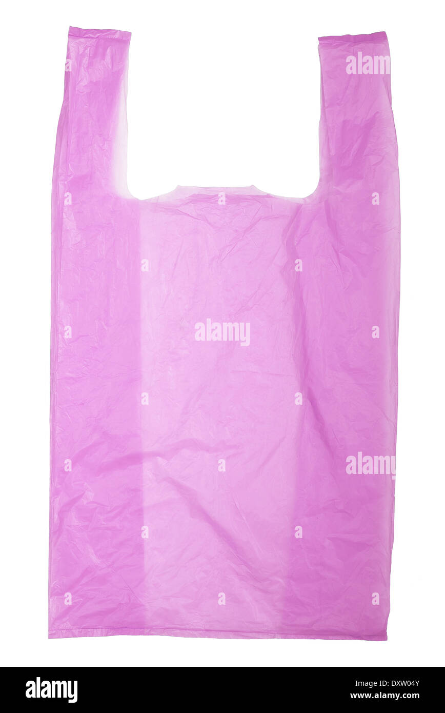 Violet Plastic bag isolated on white background - Stock Image