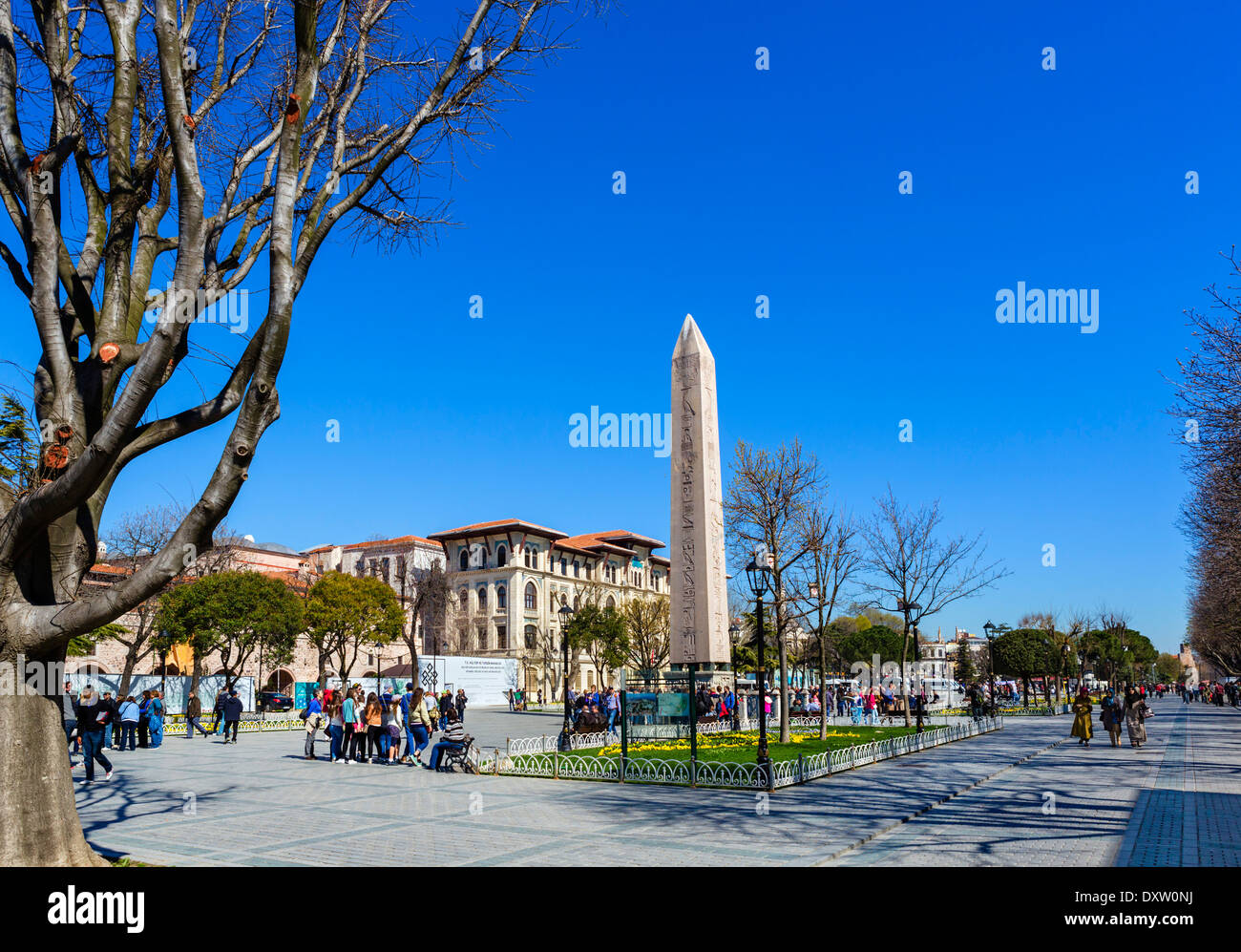 View down the Hippodrome (At Meydani)  with the Egyptian Obelisk in the foreground, Sultanahmet district, Istanbul,Turkey - Stock Image