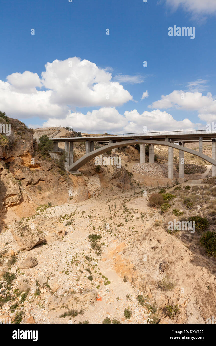 Dried up river bed in Almeria, Andalusia, South Spain, Europe Stock Photo