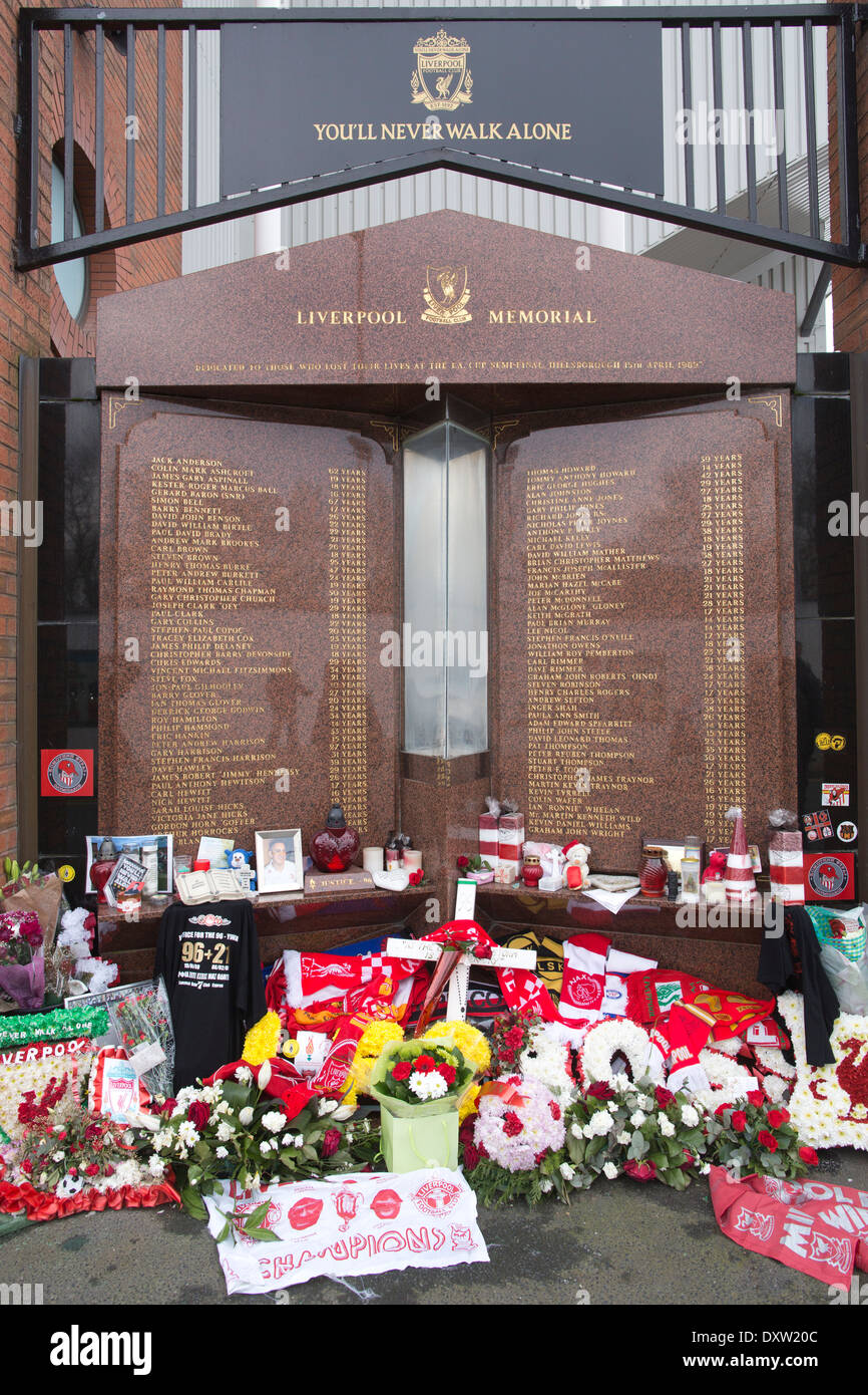 Tributes for the 96 Liverpool supporters who died at Hillsborough,  Hillsborough Memorial,  Anfield Stadium, Liverpool, UK - Stock Image