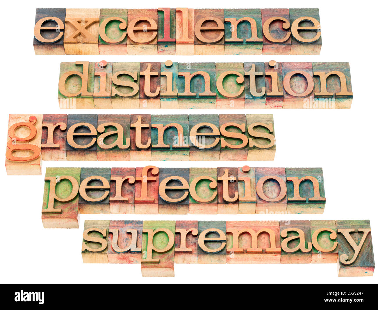 excellence, distinction, greatness, perfection and supremacy - a collage of isolated words in letterpress wood type - Stock Image
