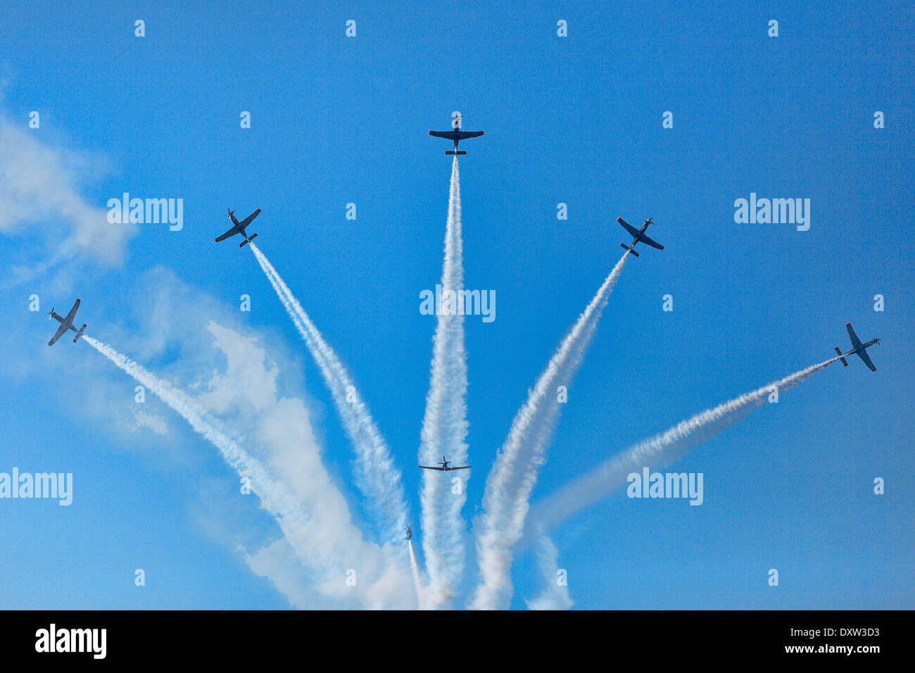 Aerobatic Airplane group formation during Air Show in Athens, Greece Stock Photo