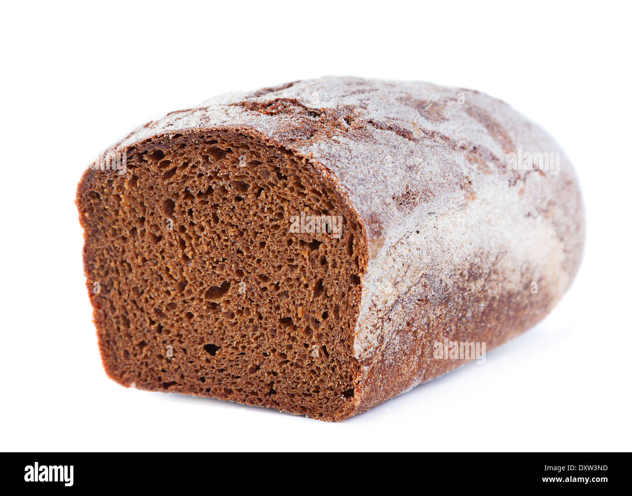 Brown bread part isolated on white - Stock Image