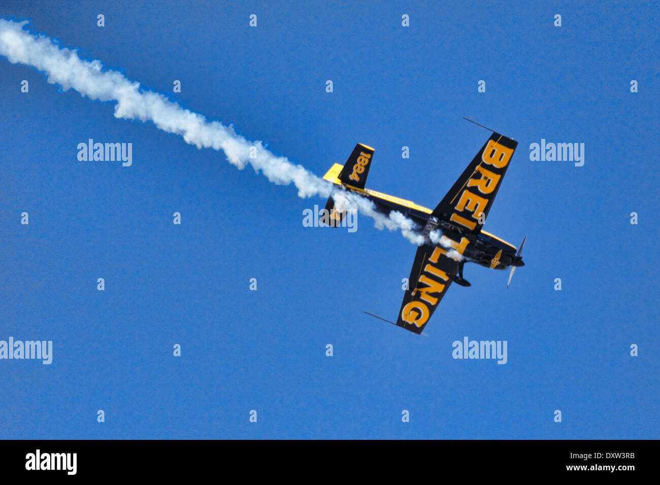 Aerobatic Airplane performance during Air Show in Athens, Greece - Stock Image