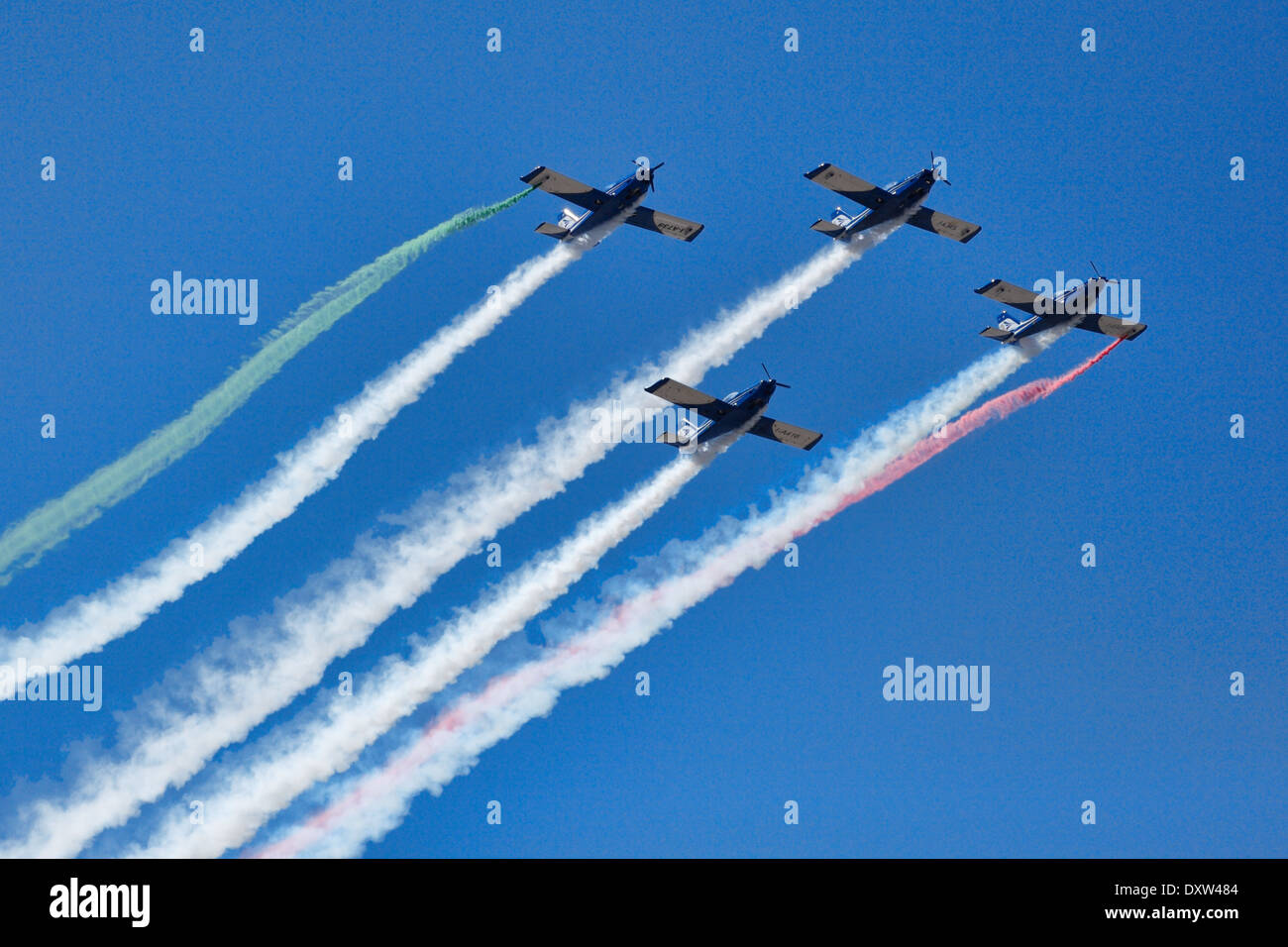 Aerobatic Airplane group formation during Air Show in Athens, Greece - Stock Image