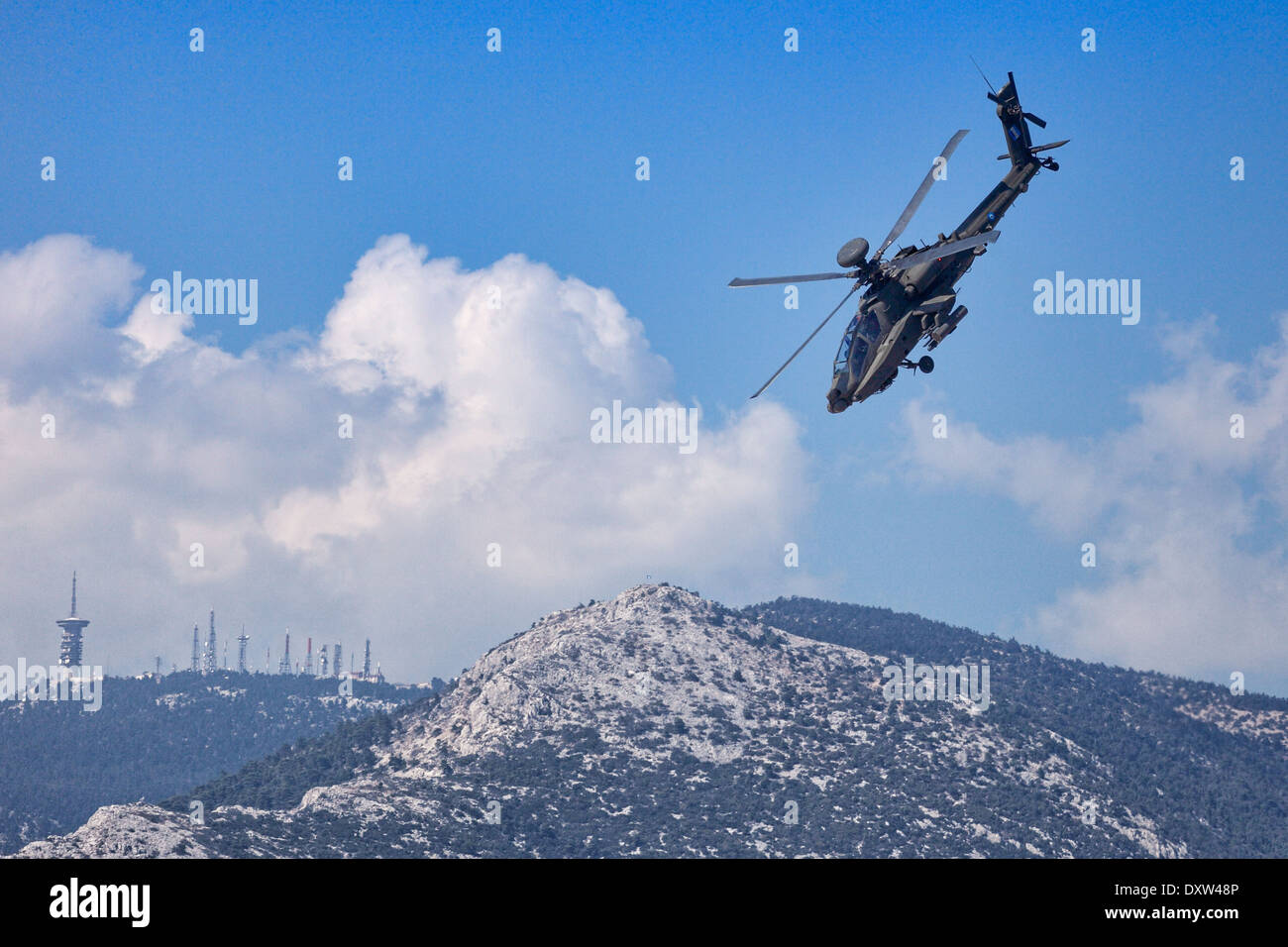 Apache helicopter aerobatic performance during Air Show in Athens, Greece - Stock Image