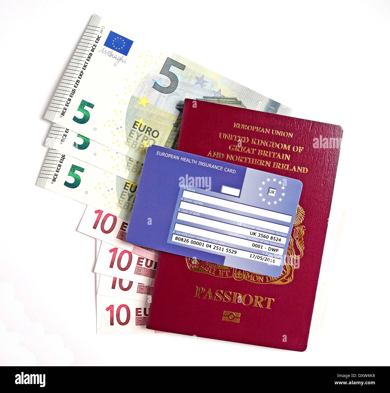a uk passport, euros and ehic card - Stock Image