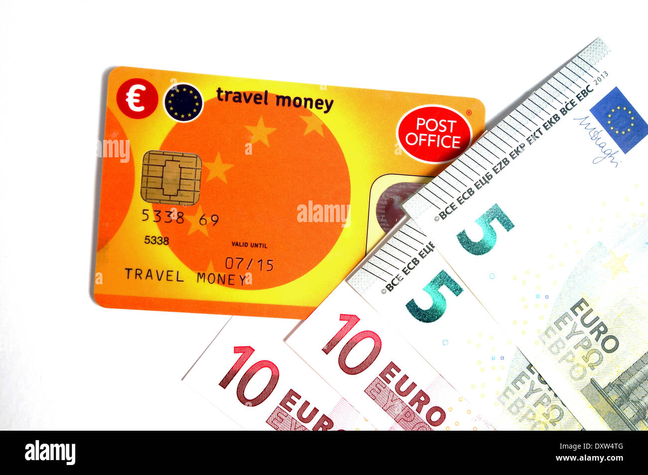 a Post Office travel money card and euros - Stock Image
