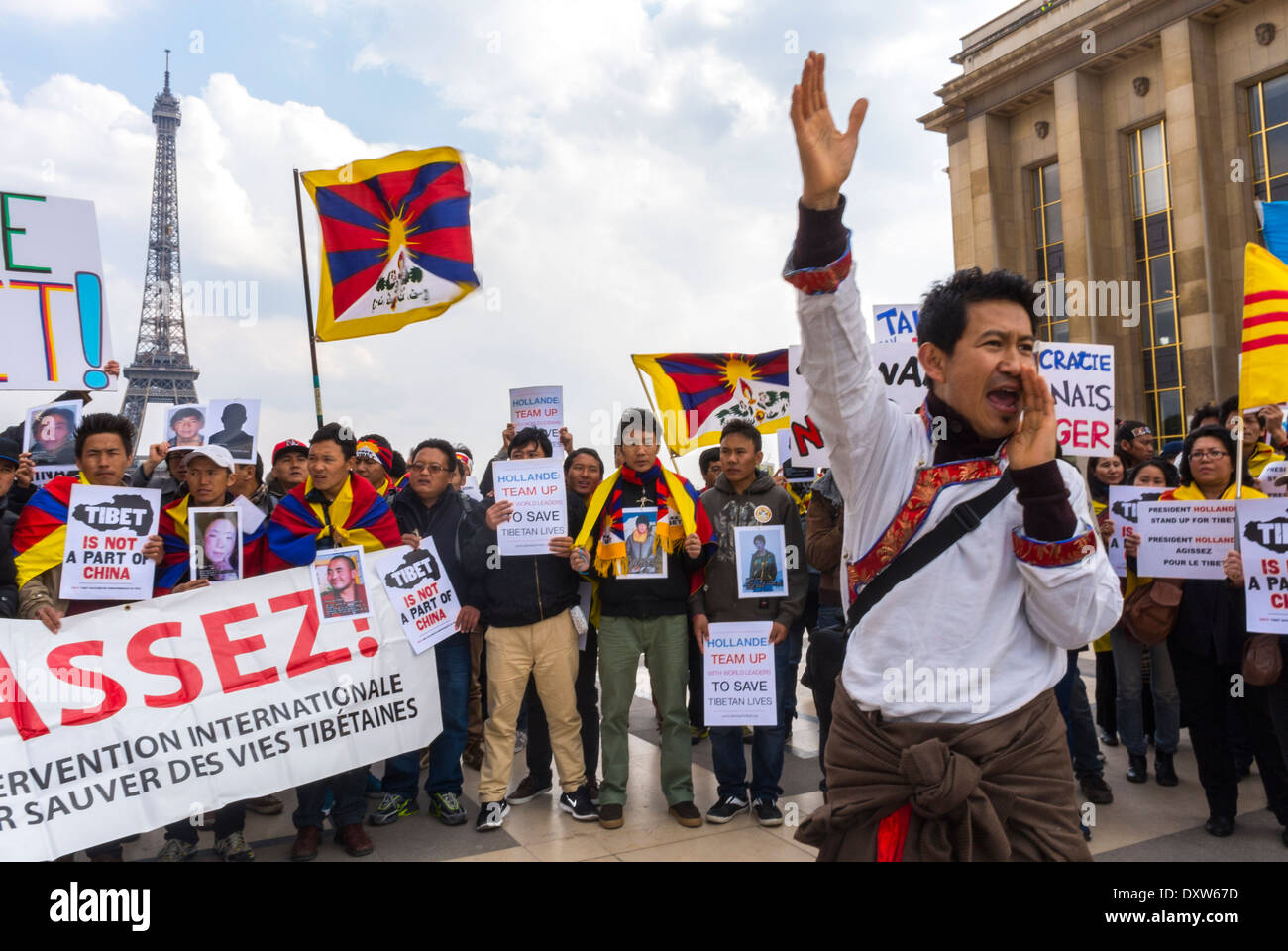 The Tibetan, Taiwanese Ethnic Communities of France, and Friends called for French citizens to mobilize during the Stock Photo