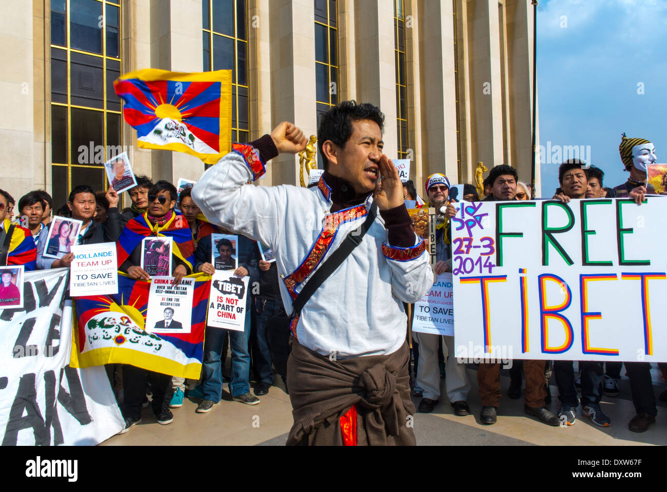 The Tibetan, Taiwanese Ethnic Communities of France, and Friends called for French citizens to mobilize during the visit of Chinese President  in Paris, Stock Photo