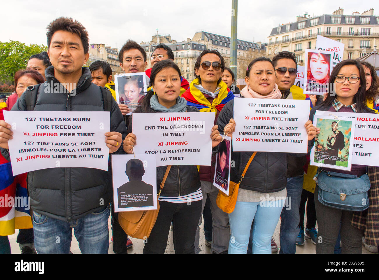 The Tibetan, Taiwanese  Ethnic Communities of France, and Friends called for French citizens to mobilize during the visit of Chinese President in Paris, French protest poster, International Immigrants Stock Photo