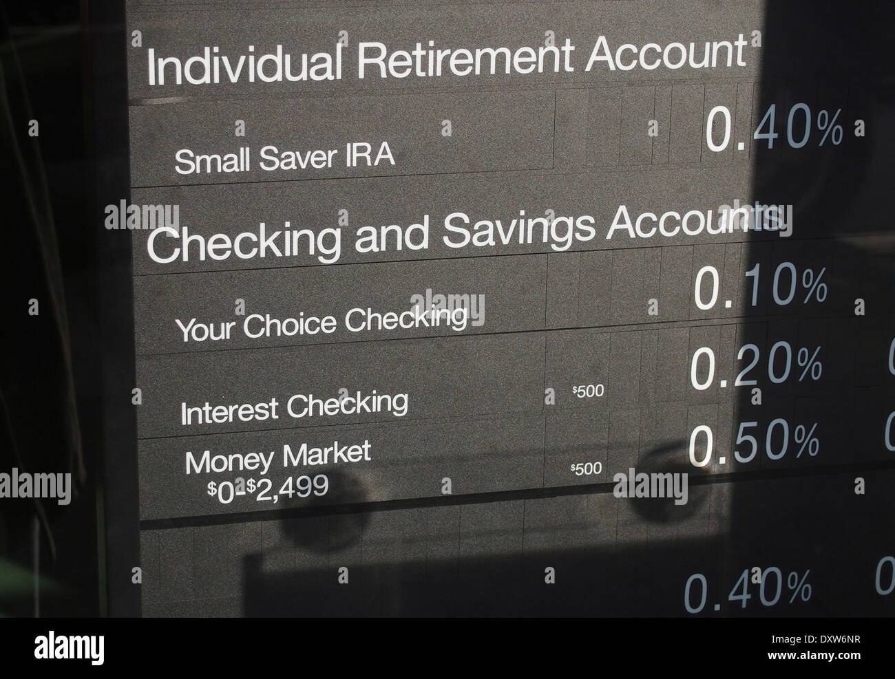Bank interest rates sign - Stock Image