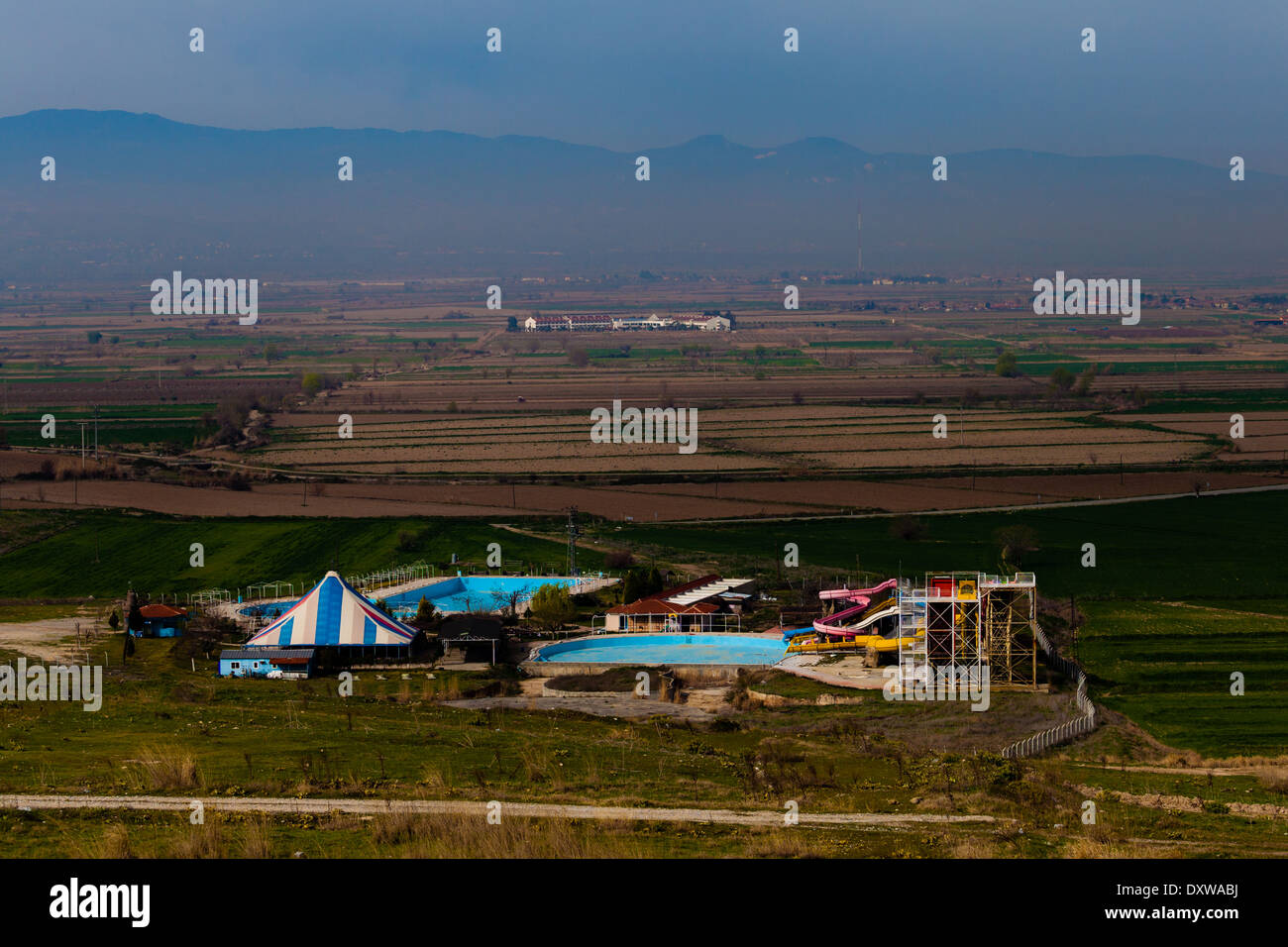 Fun Park and swimming pool in Landscape - Stock Image