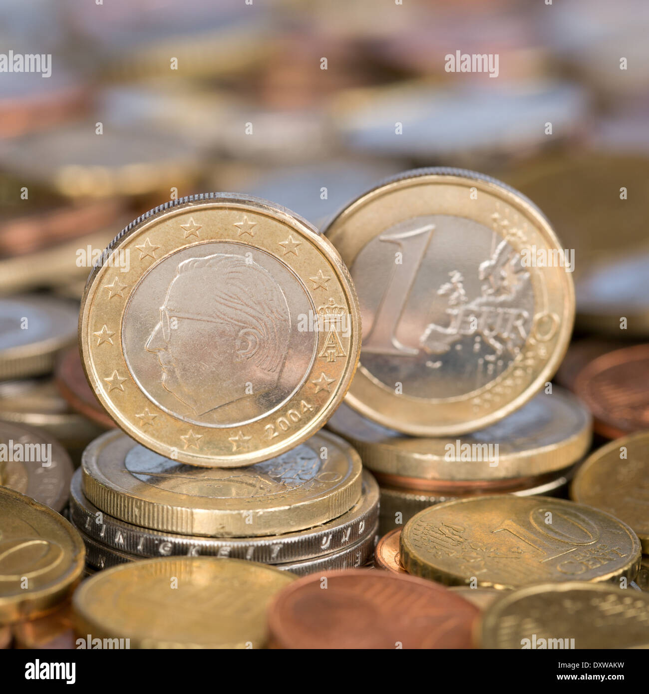 A one Euro coin from the European Union currency member country Belgium - Stock Image