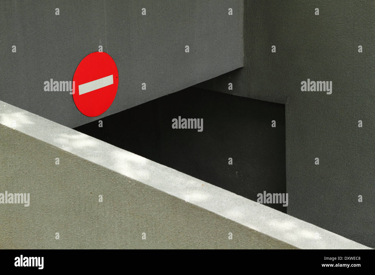 Abstract of an underground car park exit - no entry. Kuala Lumpur, Malaysia. - Stock Image