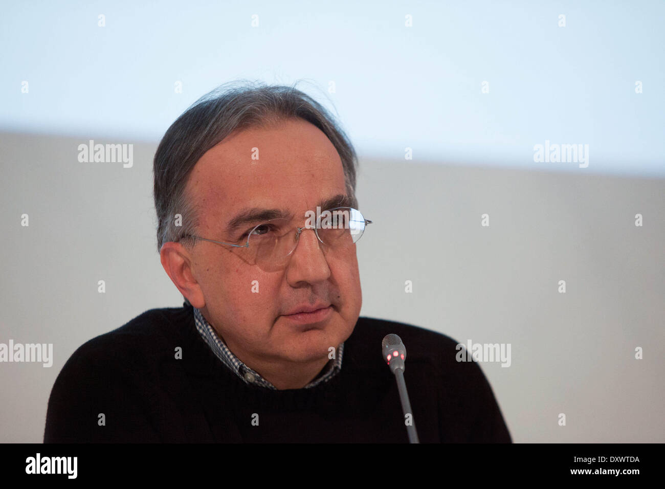 Turin, Italy. 31st Mar, 2014. Sergio Marchionne speaks at general Meeting of Fiat Shareholders, in Turin, Italy, Stock Photo