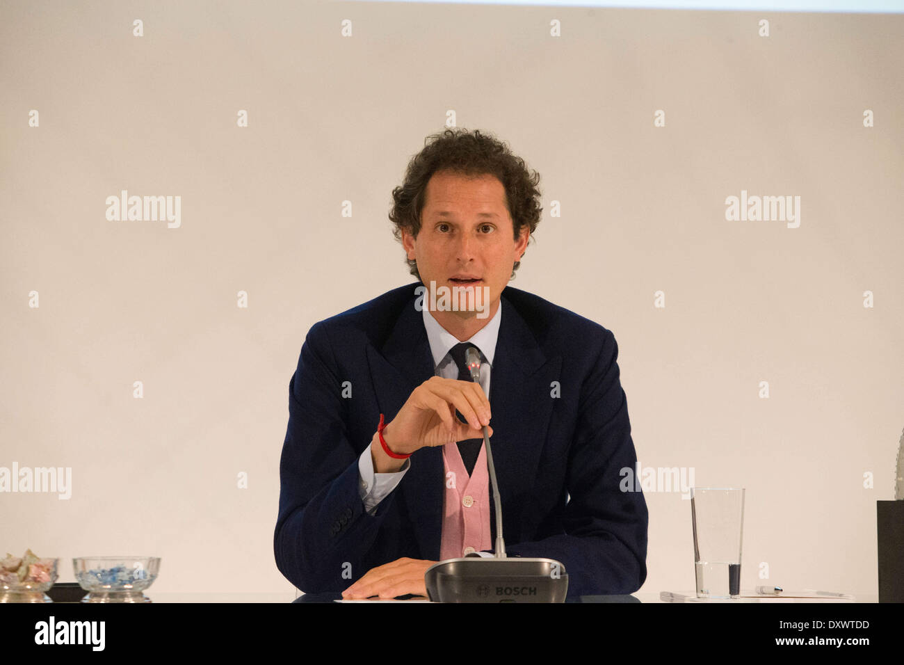 Turin, Italy. 31st Mar, 2014. John Elkan speaks at general Meeting of Fiat Shareholders, in Turin, Italy, on March Stock Photo