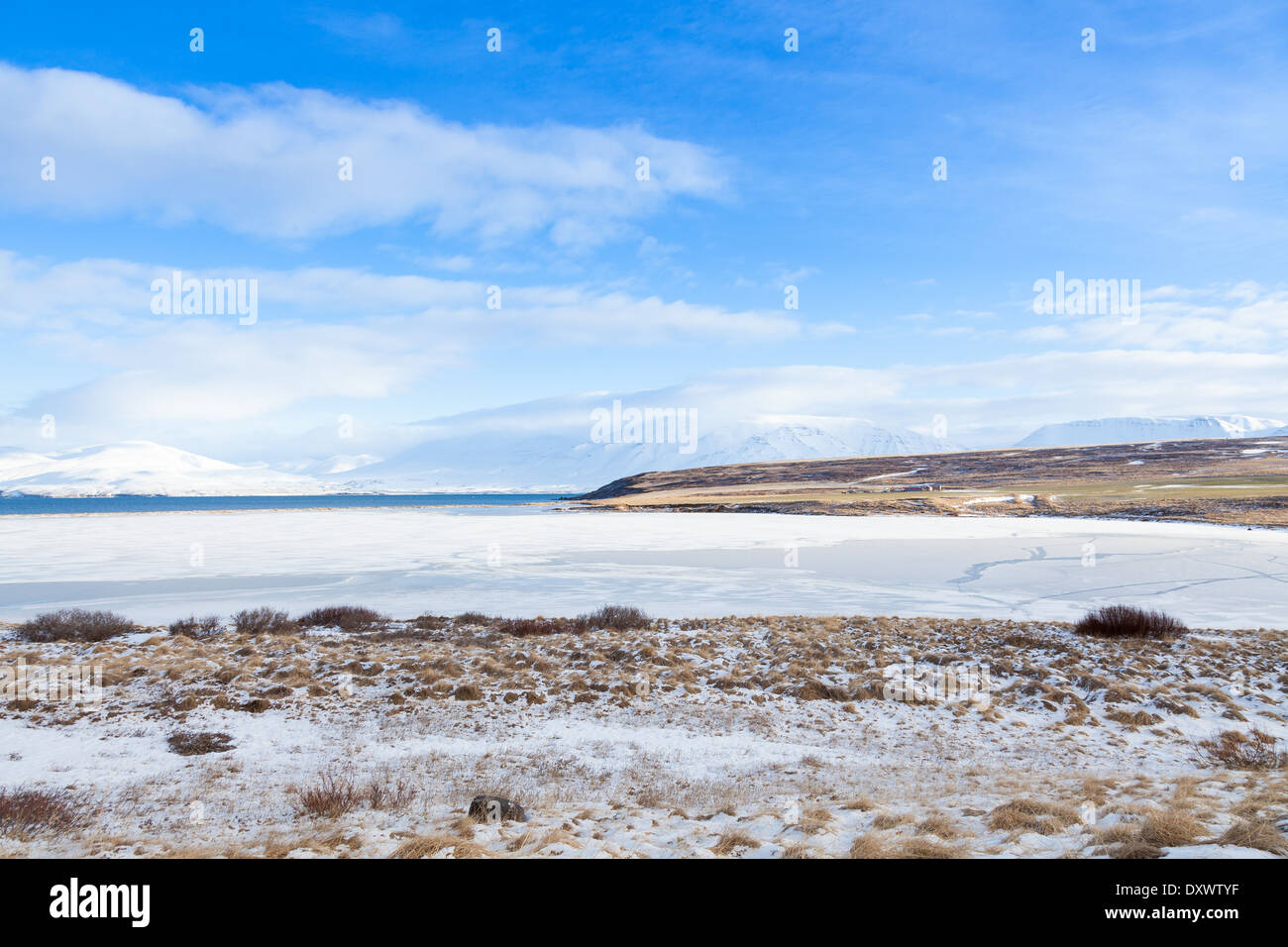 Frozen fjord in Iceland - Stock Image