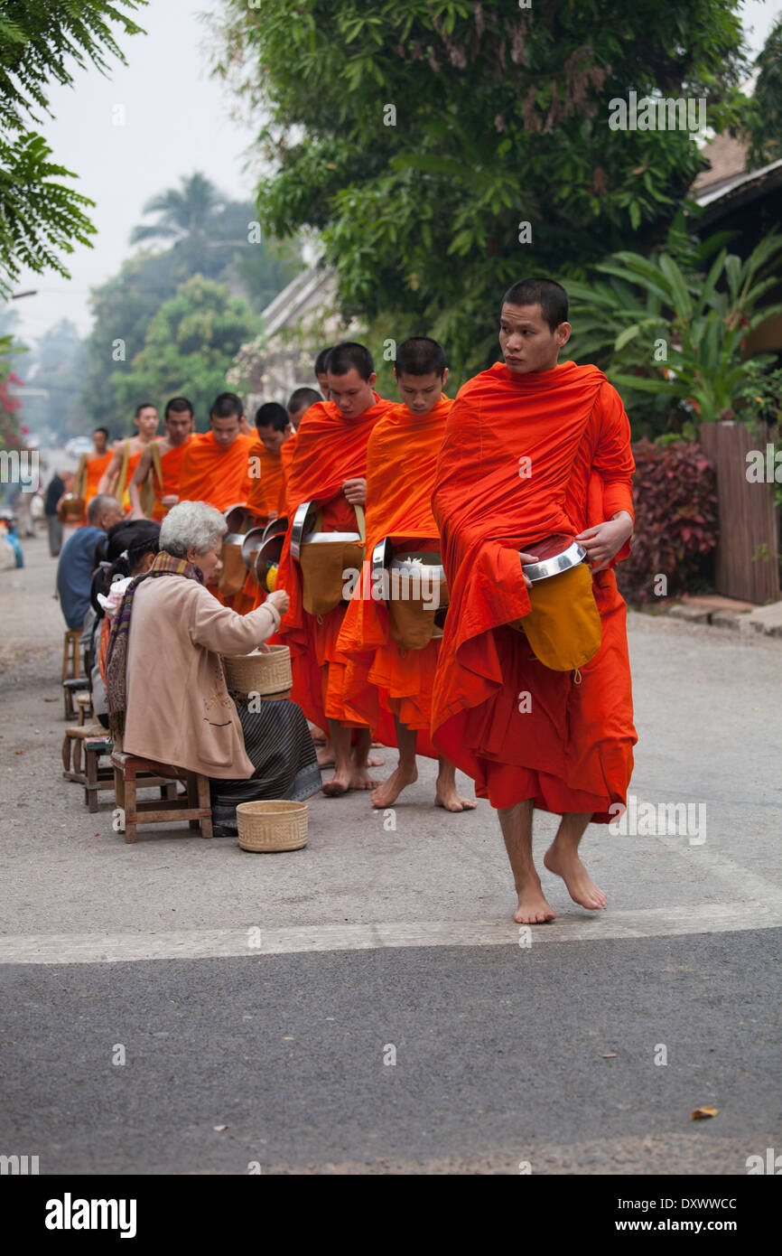 Buddhist Monks Morning Ritual, alms giving/ receiving 4 Stock Photo