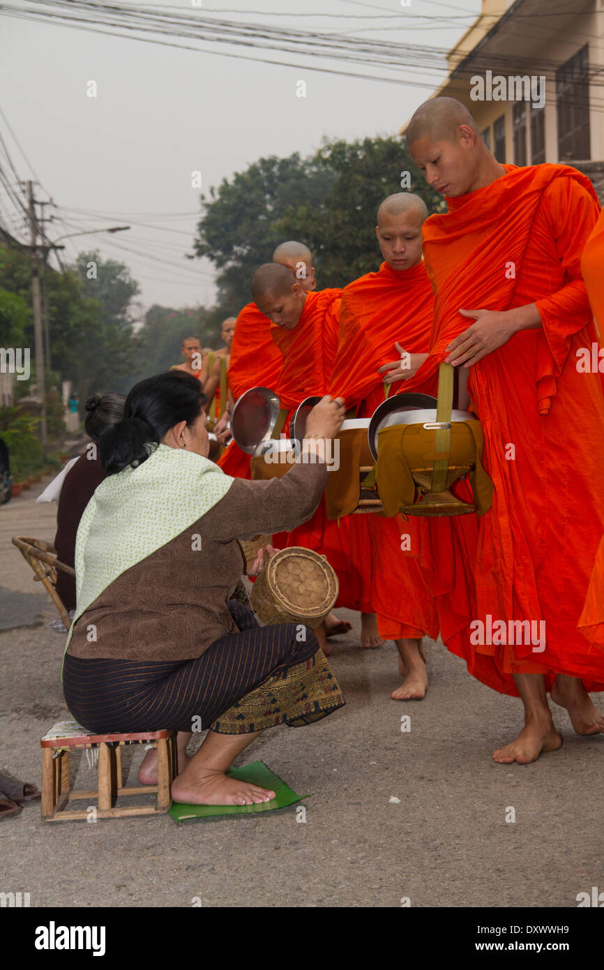 Buddhist Monks Morning Ritual, alms giving collection 2 Stock Photo