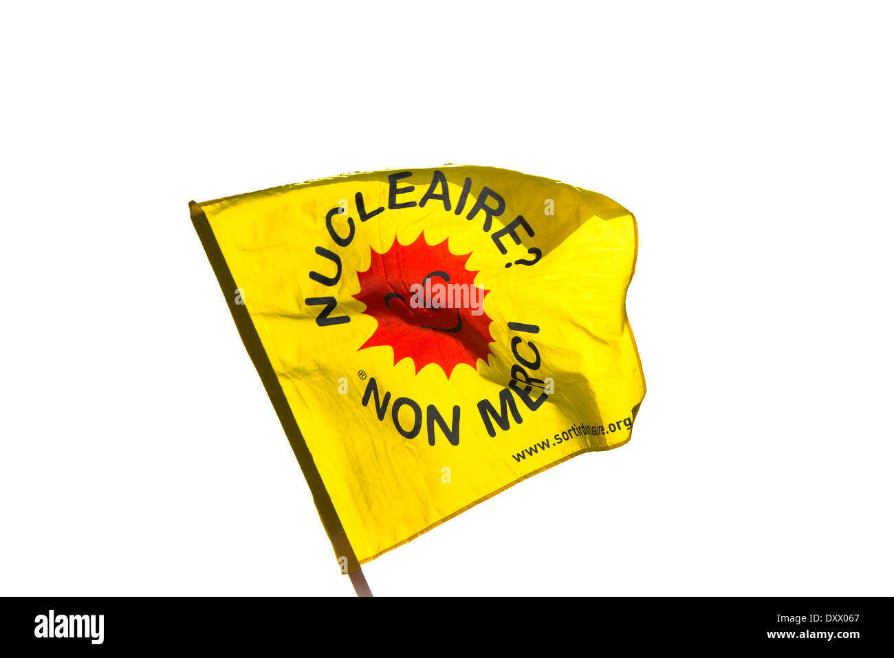 Flag, 'Nucleaire? Non merci', French for 'Nuclear power? No thanks' - Stock Image