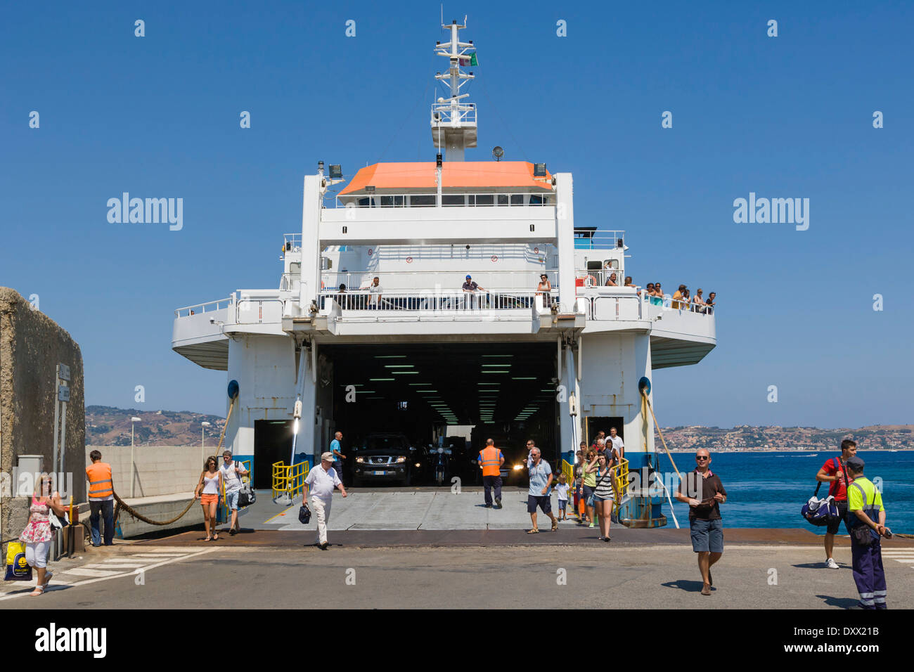 Ferry boat at Reggio di Calabria ferry station, Strait of Messina, Calabria, Southern Italy, Italy - Stock Image
