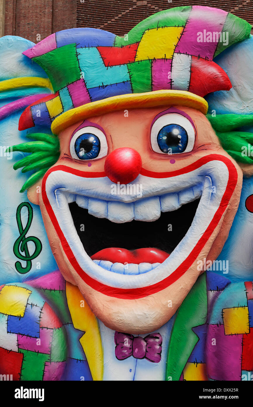 Laughing clown, face made of papier-mâché, Carnival, Düsseldorf, North Rhine-Westphalia, Germany - Stock Image