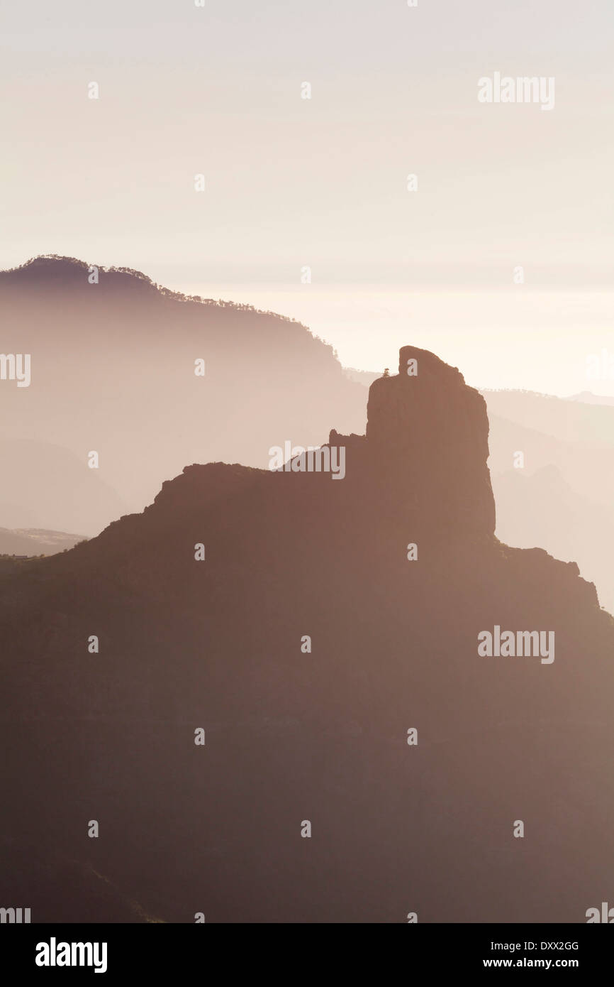View from Cruz de Tejeda towards Roque Bentayga near Tejeda, Gran Canaria, Canary Islands, Spain Stock Photo