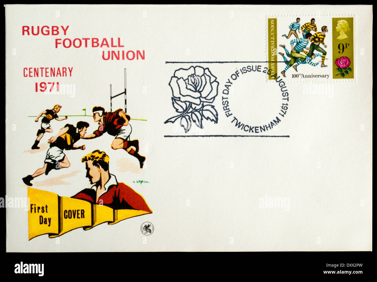 1971 First Day Cover celebrating the centenary of Rugby Football union, postmarked at Twickenham. - Stock Image