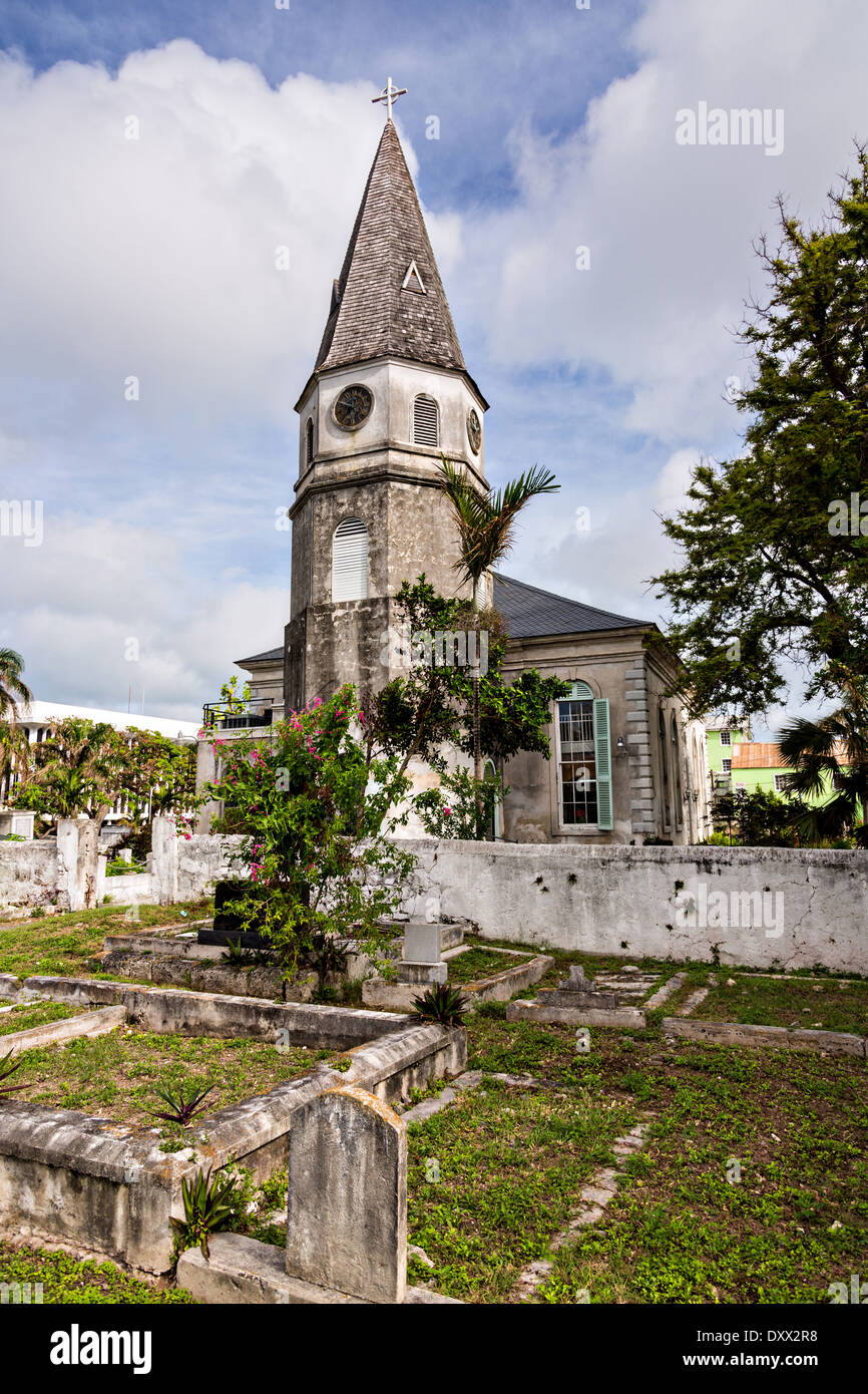 St. Matthews Anglican Church Nassau, Bahamas. St. Matthews is the oldest church in the Bahamas opened July 18th, 1802. The church's steeple along with its clock was erected in 1816 and for many years was the only reliable source of time on the Island. - Stock Image