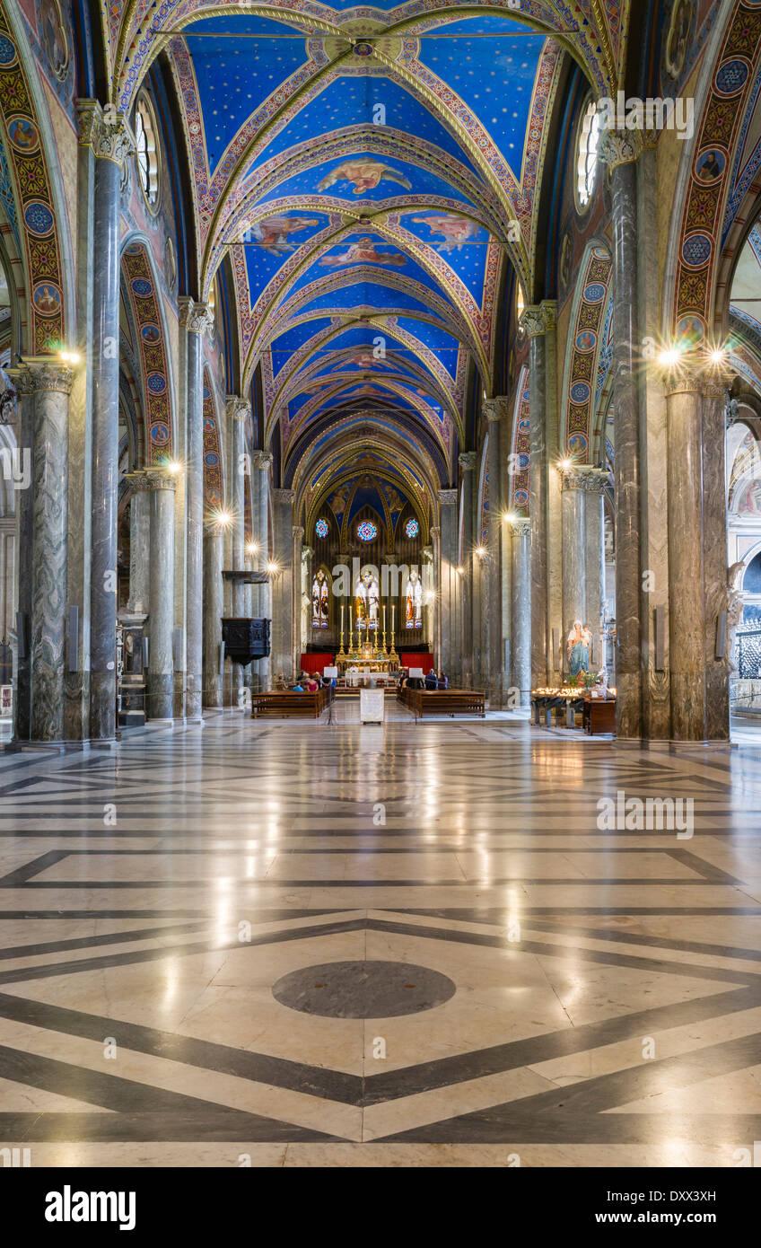 Interior of the Gothic basilica, construction began at the end of the 13th century, Santa Maria sopra Minerva, Rome, Stock Photo