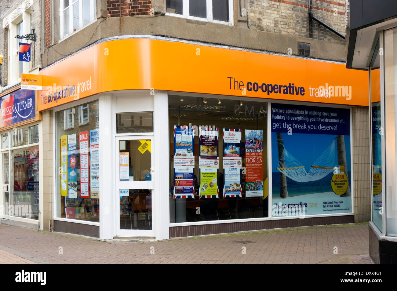 A branch of Co-operative travel agency in the High Street, King's Lynn, Norfolk. - Stock Image