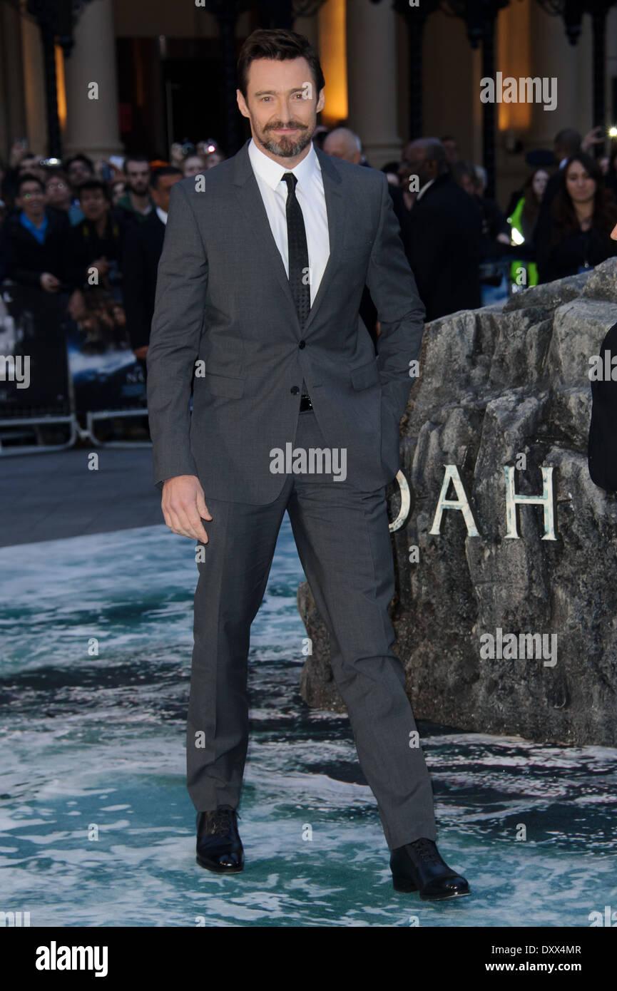Hugh Jackman arrives for the UK Premiere of Noah. - Stock Image